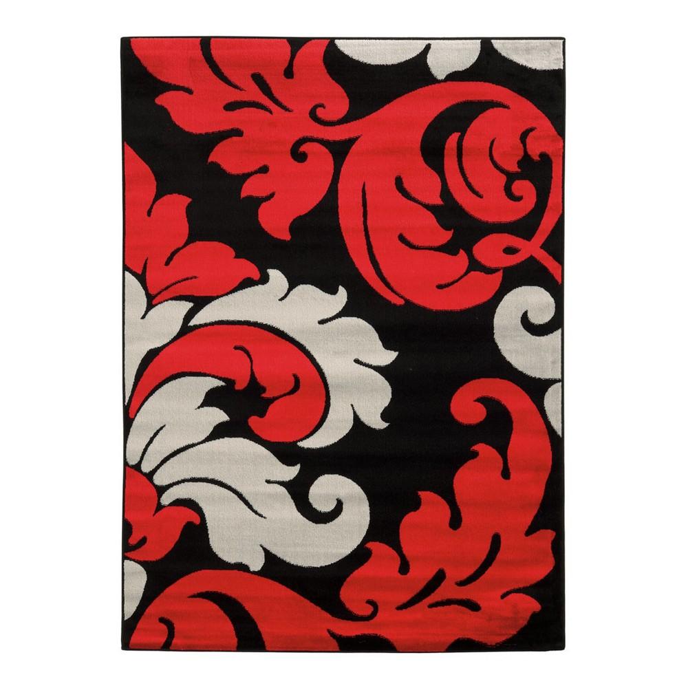 Image of Black Jacquard Loomed Area Rug 8'X10' - Linon, Black Red