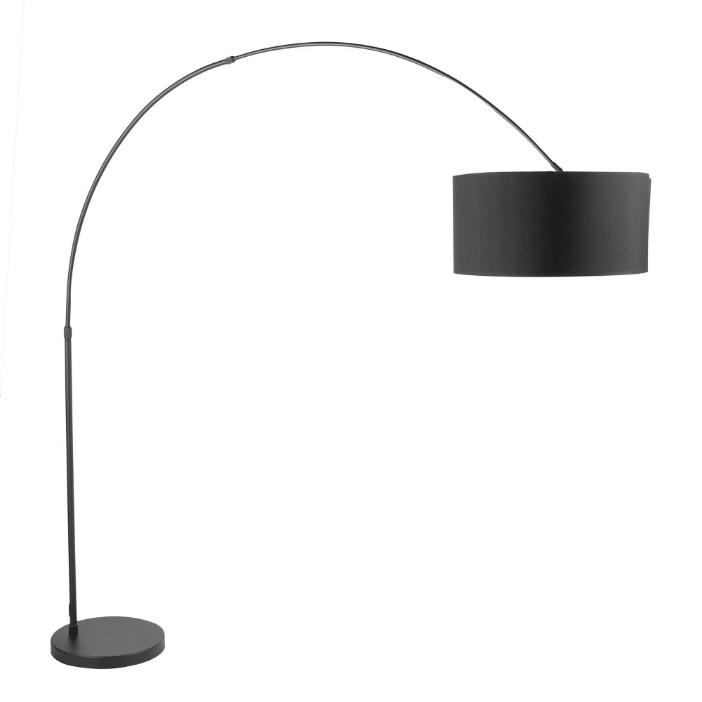Salon Contemporary Floor Lamp Satin Nickel with Black shade (Lamp Only) - Lumisource, Silver