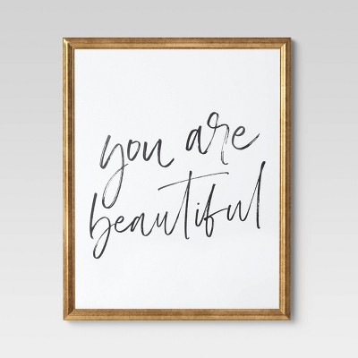 "16"" x 20"" You Are Beautiful Framed Wall Art White/Black - Opalhouse™"