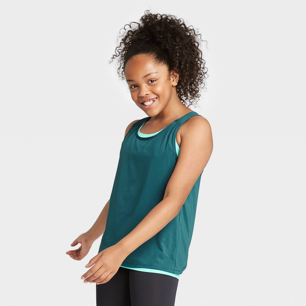 Image of Girls' Double Layer Tank Top - All in Motion Dark Teal L, Girl's, Size: Large, Dark Blue