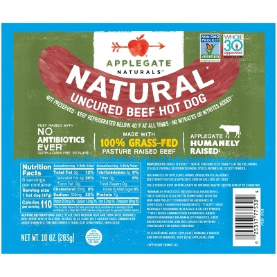 Applegate Naturals Grassfed Uncured Beef Hotdogs - 10oz