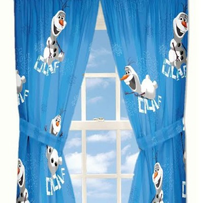Disney Curtains Olaf Build a Snowman Window Panels and Tie-Backs - Frozen..