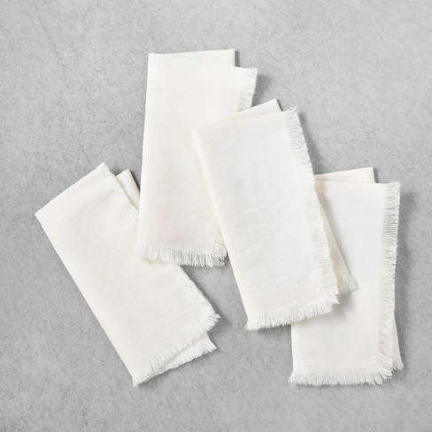 4pk Linen Blend Raw Edge Napkin Set Sour Cream - Hearth & Hand™ with Magnolia - image 1 of 3