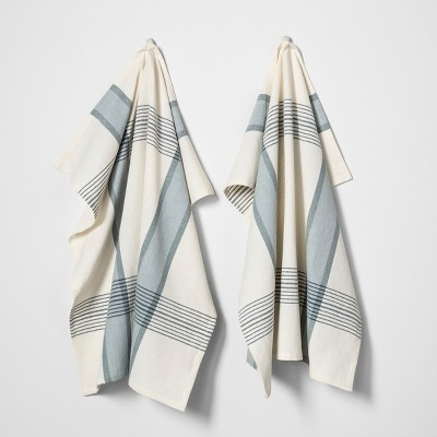 2pk Flour Sack Kitchen Towel Plaid Blue / White - Hearth & Hand™ with Magnolia