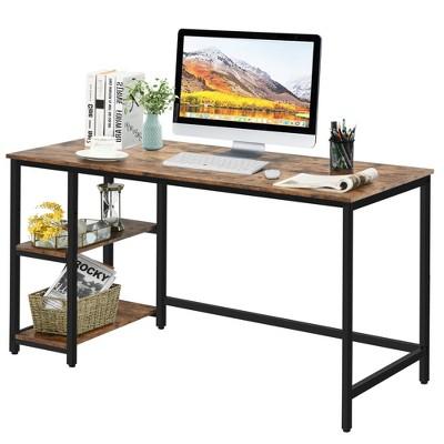 Costway 55'' Computer Desk Office Study Table Workstation Home w/ Adjustable Shelf Black/Coffee/Brown