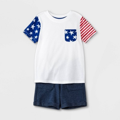 Toddler Boys' Americana Flag Short Sleeve T-Shirt and French Terry Pull-On Shorts Set - Cat & Jack™ White