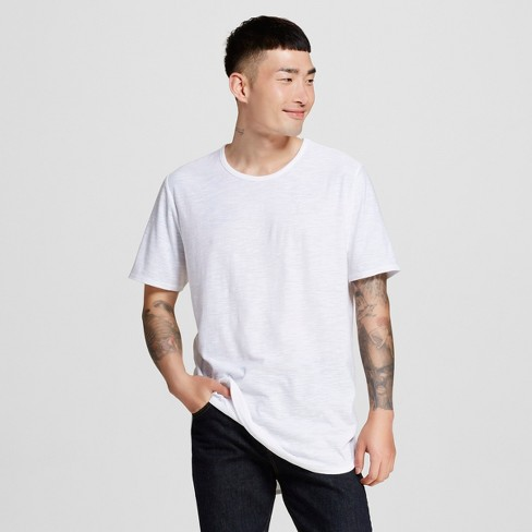 Men s Long Curved Hem T-Shirt White S - Jackson ™   Target 037c6e6b173