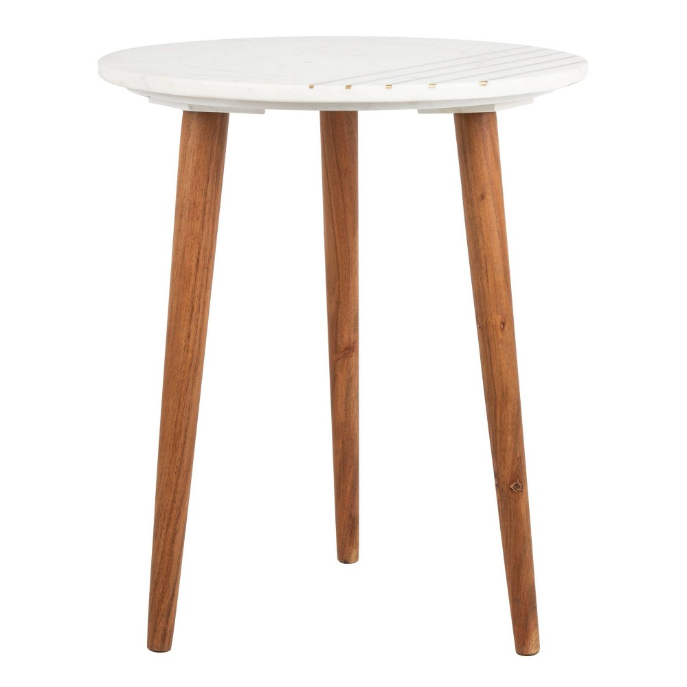 Valerie Round Marble Accent Table Natural Brown/White/Gold - Safavieh