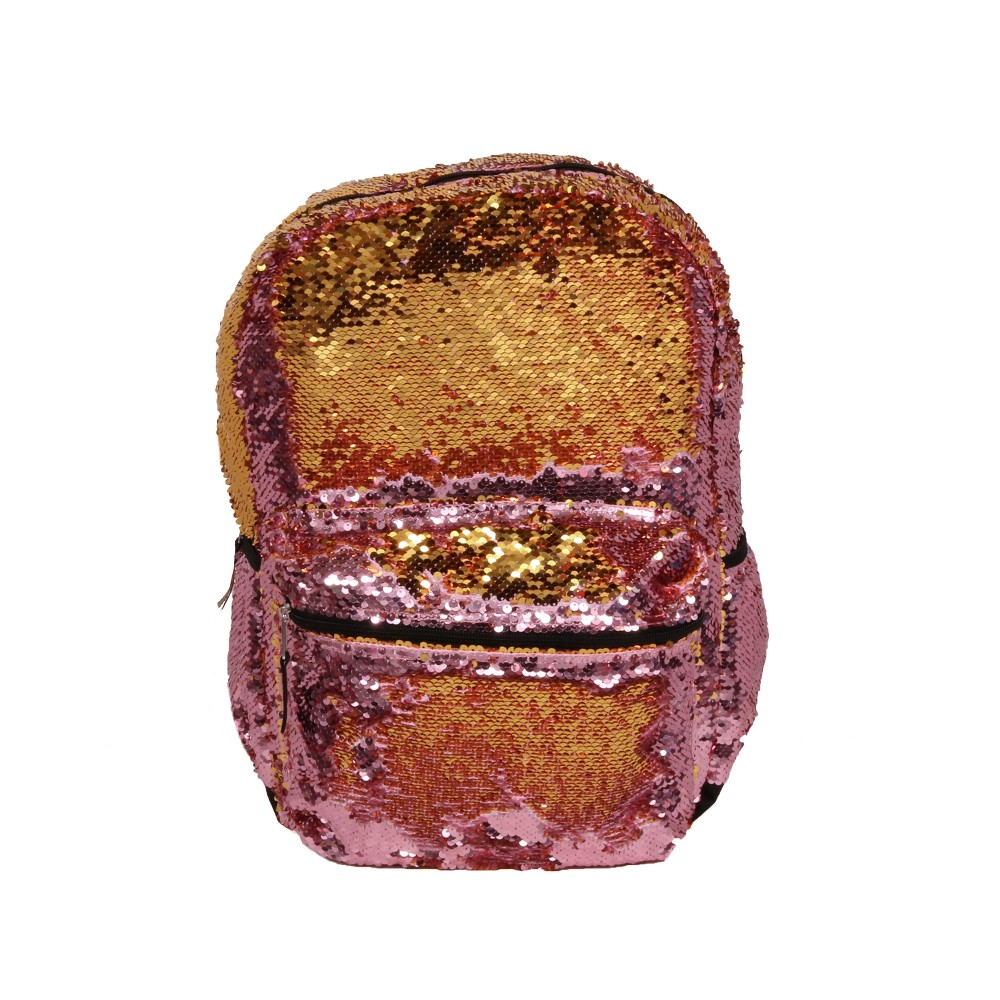 Fashion 17 Sequin Color Change Backpack - Pink/Gold This trendy style backpack is great for all around use all year long! The brushed sequin material changes from pink to gold to give it a cool effect. Gender: Female. Pattern: Solid.