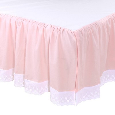 The Peanutshell Farmhouse Crib Skirt  - Pink