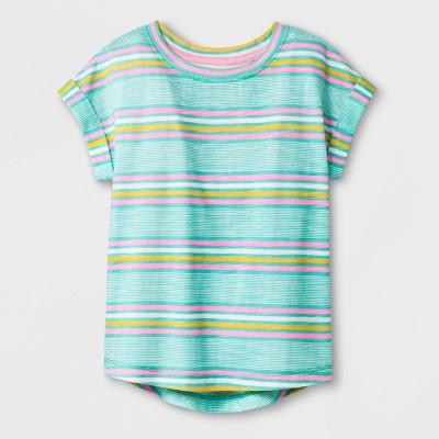 Toddler Girls' Cap Sleeve T-Shirt - Cat & Jack™ Mint Stripe 2T