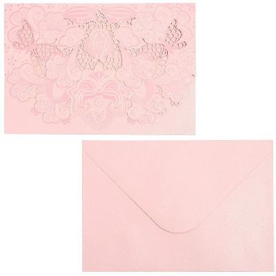 Paper Junkie 24-Pack Laser Cut Pink Shimmer Invitations Cards with Envelopes for Wedding Bridal Shower, 7x5 in