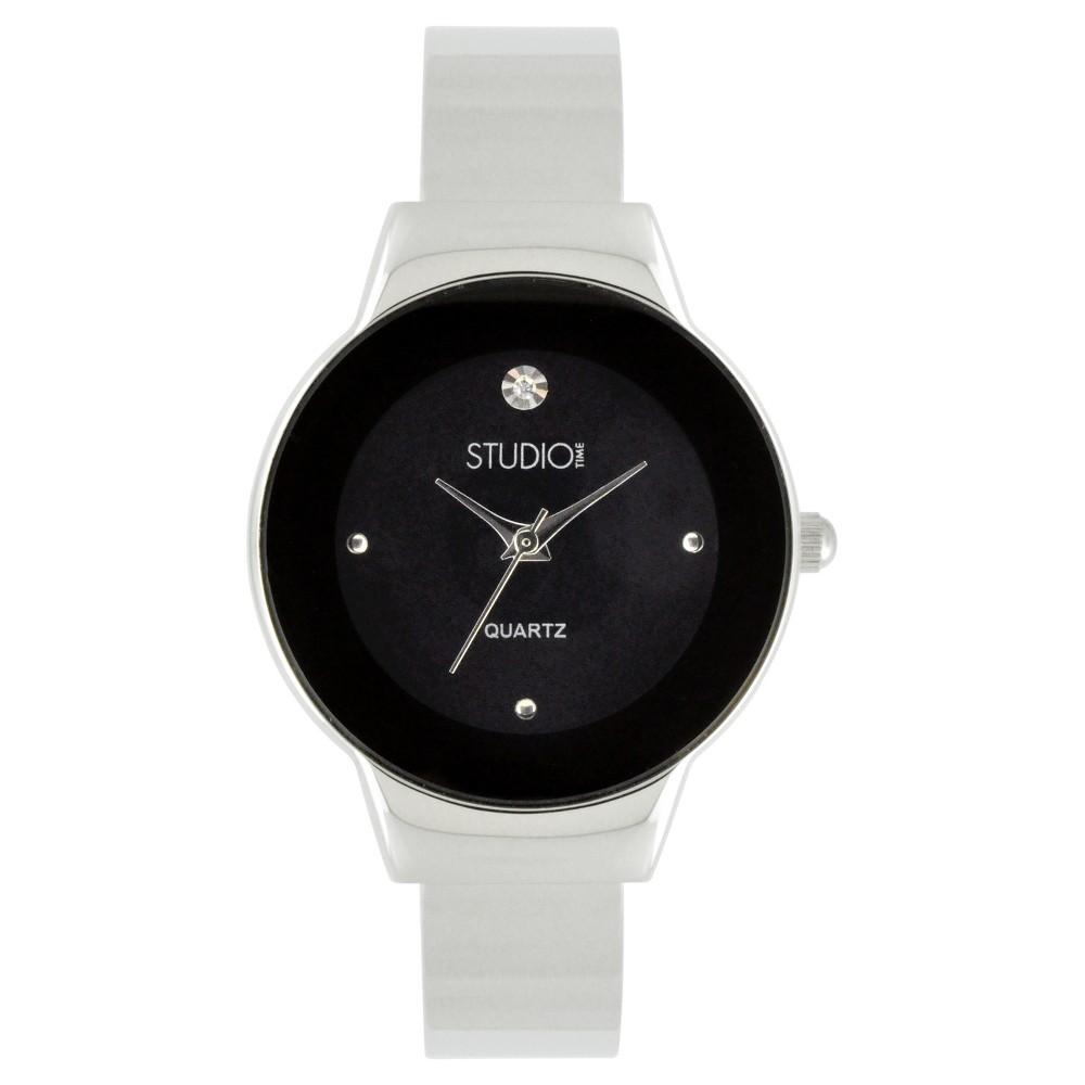Women's Studio Time Bangle Watch - Soft Silver