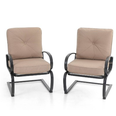 2pc Metal Patio Spring Chairs with Cushions - Beige - Captiva Designs