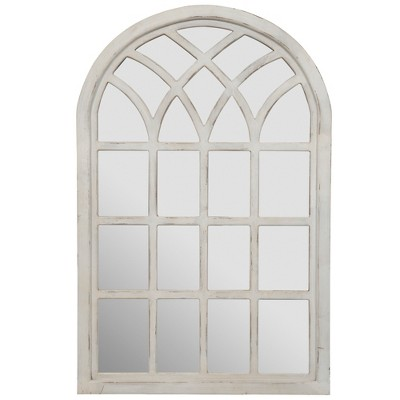 46 x30  Farmhouse Cathedral Windowpane Wall Mirror White - Gallery Solutions
