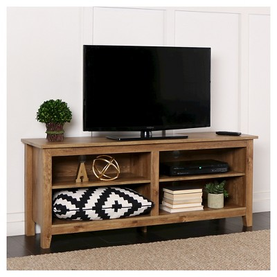 58  Wood Media TV Stand Storage Console Barnwood - Saracina Home