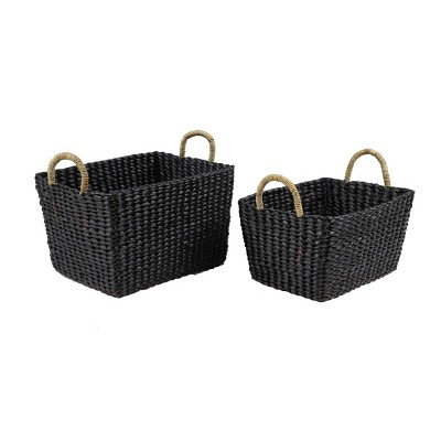 Olivia & May Set of 2 Large Rectangular Handwoven Water Hyacinth Wicker Baskets with Banana Leaf Handles Black