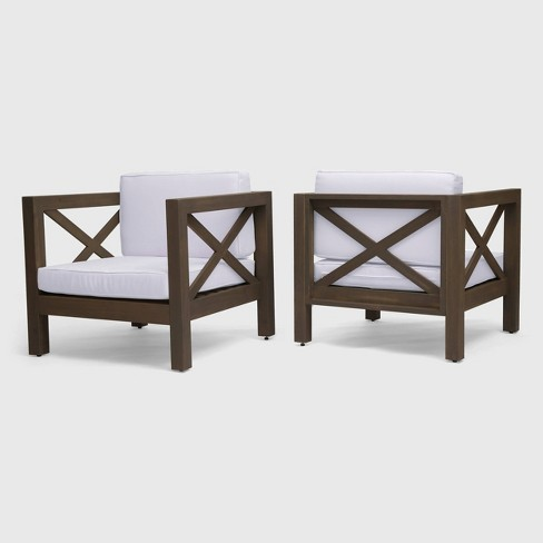 Brava 2pk Acacia Wood Club Chairs - Christopher Knight Home - image 1 of 4
