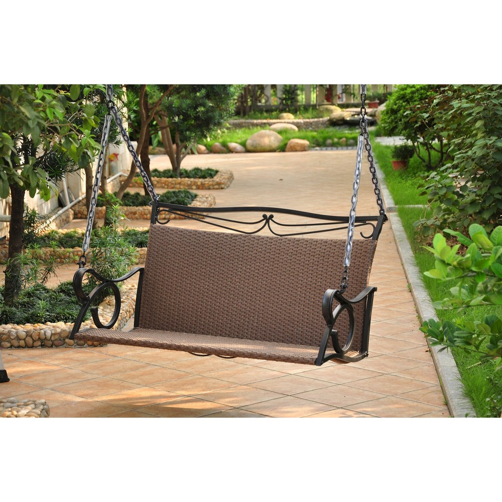 Image of International Caravan Valencia Wicker and Iron Patio Swing - Antique Brown, Ant Brown
