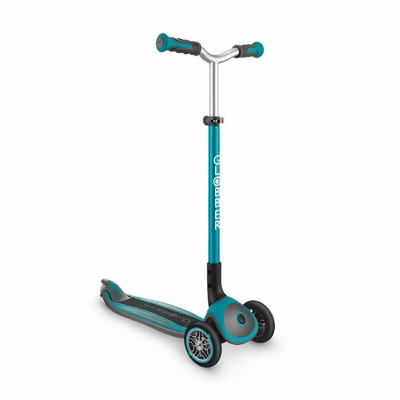 Globber Master Series 3-Wheel Foldable Kick Scooter with Adjustable Height and Comfortable Grips for Kids Aged 4 and Up, Teal
