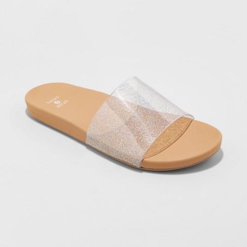 2d918b04d7a9 Women's Pixie Glitter Slide Sandals - Shade & Shore™ Silver : Target