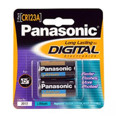 Panasonic CR-123APA/2B Photo Power CR123 Lithium Batteries, (Gold)