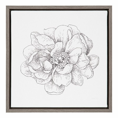 "16""X16"" Pen and Ink Florals Iv By Danhui Nai Graywash - Amanti Art"