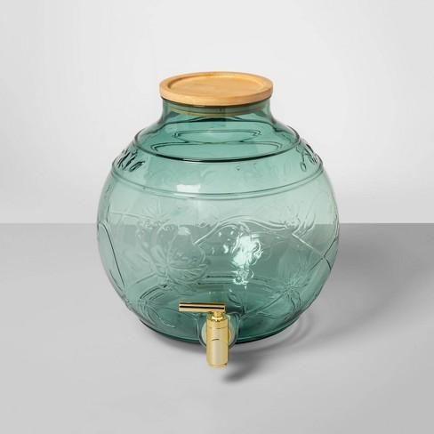 2qt Plastic Floral Embossed Beverage Dispenser Blue - Opalhouse™ - image 1 of 1