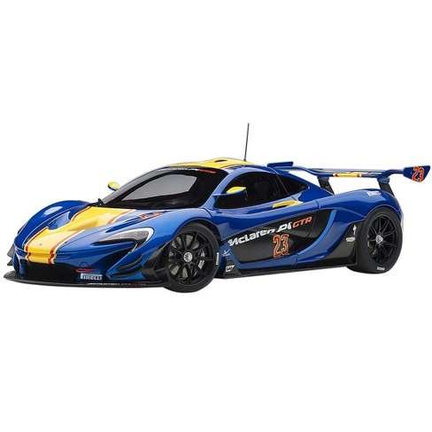 McLaren P1 GTR #23 Metallic Blue with Yellow Stripe 1/18 Model Car by Autoart - image 1 of 4