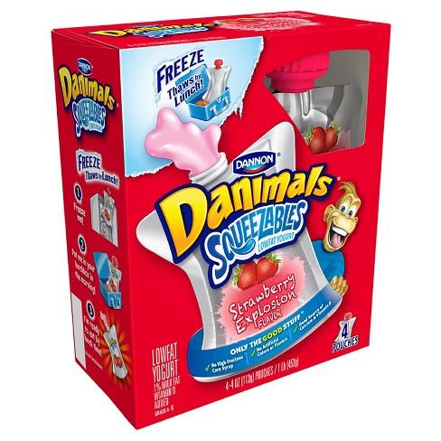 Dannon Danimals Strawberry Kids' Yogurt Pouches - 4pk/4oz pouches - image 1 of 1