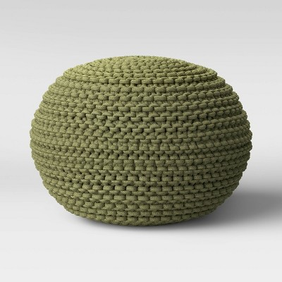 Cloverly Chunky Knit Pouf Green - Threshold™