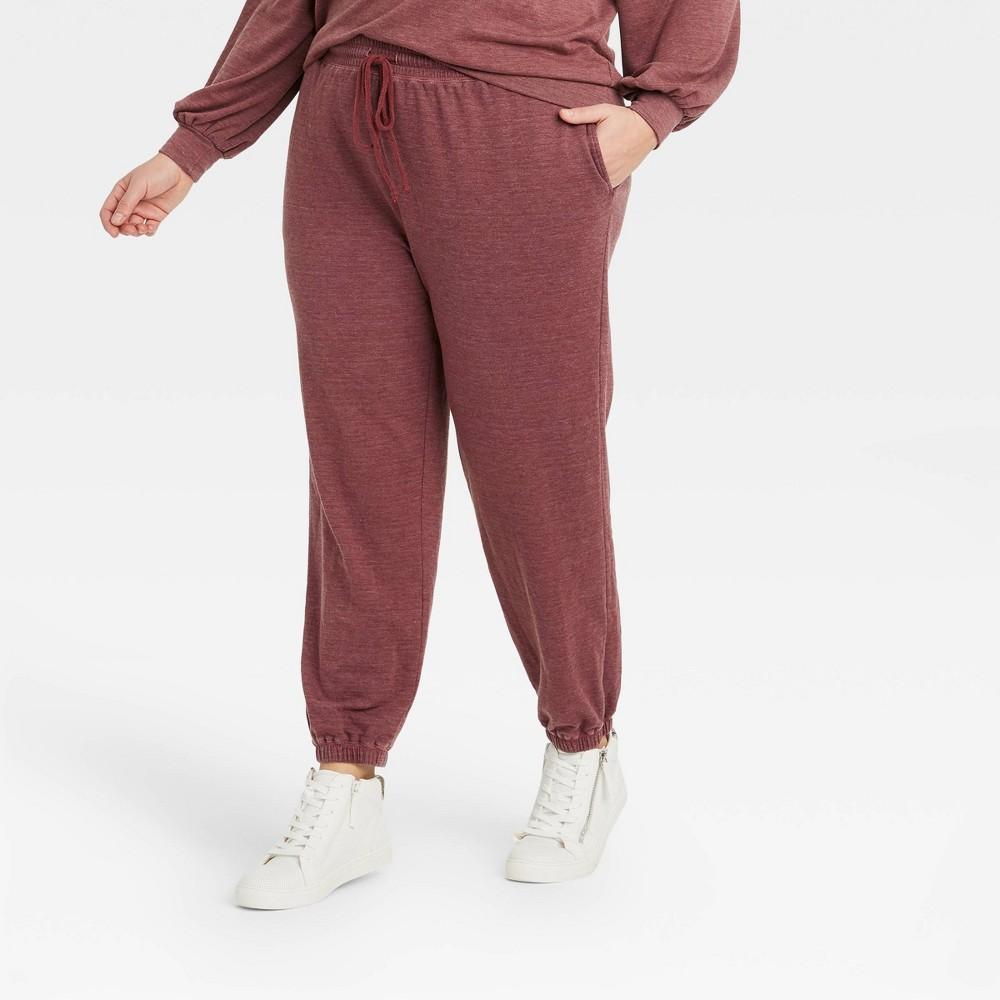Women 39 S Plus Size Cozy Washed Jogger Pants Knox Rose 8482 Burgundy 3x