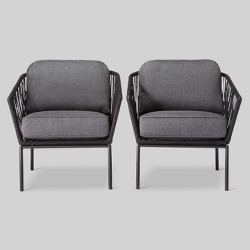 Standish 2pk Patio Club Chair Black/Gray - Project 62™
