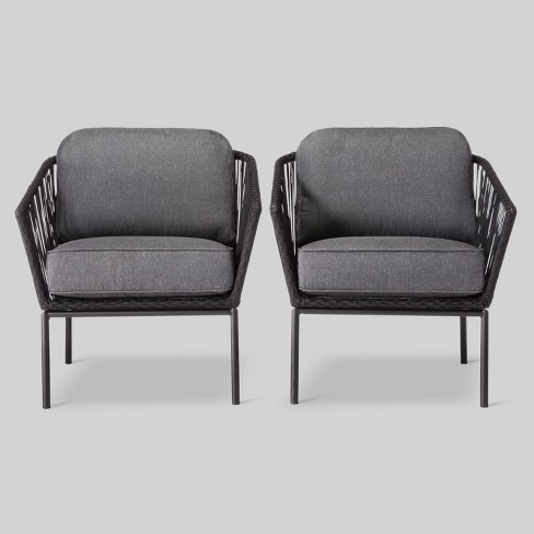 Standish 2pk Patio Club Chair Black/Gray - Project 62™ - image 1 of 6