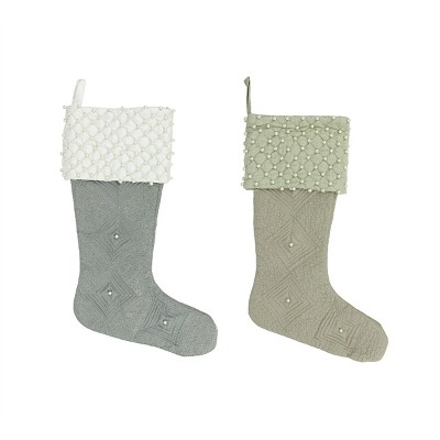 """Northlight Set of 2 Gray and Brown Quilted Christmas Stockings 18"""""""