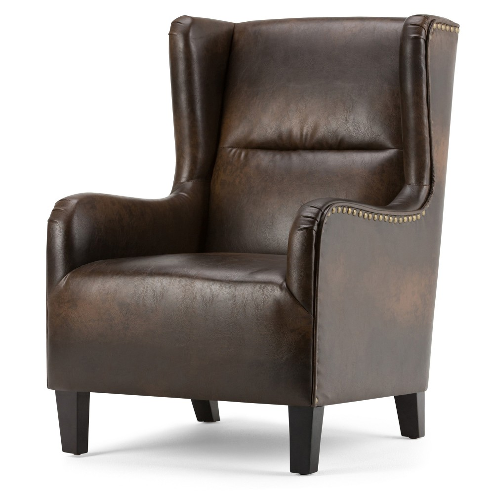 Manford Wingback Chair Distressed Brown Bonded Leather - Wyndenhall