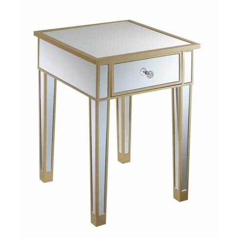 Gold Coast Mirrored End Table With, Target Mirrored Furniture