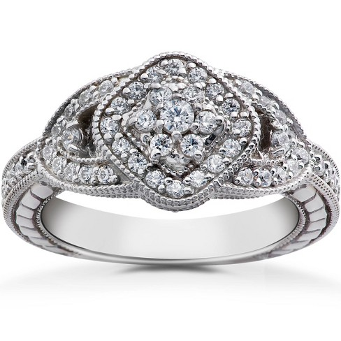 Pompeii3 3/4ct Pave Cluster Vintage Diamond Engagement Anniversary Ring 14K White Gold - image 1 of 4