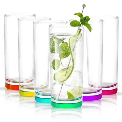 JoyJolt Hue Colored Highball Glasses - Set of 6 Tall Drinking Glassware - 12 oz