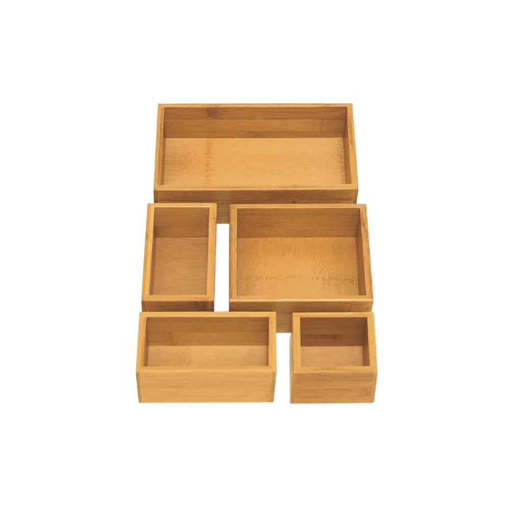Image of Seville 5pc Bamboo Organizer Boxes Brown (Assorted Sizes)