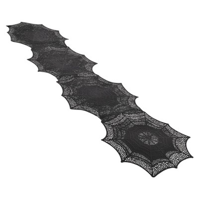 Black Vinyl Spider Web Halloween Table Runner