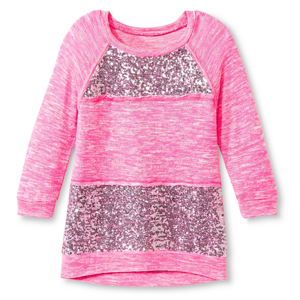 Girls' Miss Chevious Sequins 3/4 Sleeve Pullover-Pink L, Pink
