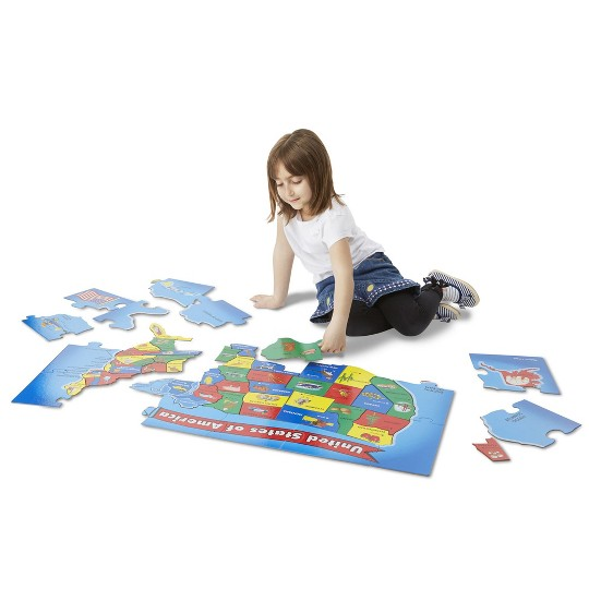 Melissa And Doug Usa Map Floor Puzzle 51pc image number null