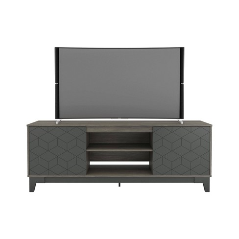 "72"" Hexagon Tv Stand Charcoal Gray - Nexera - image 1 of 4"