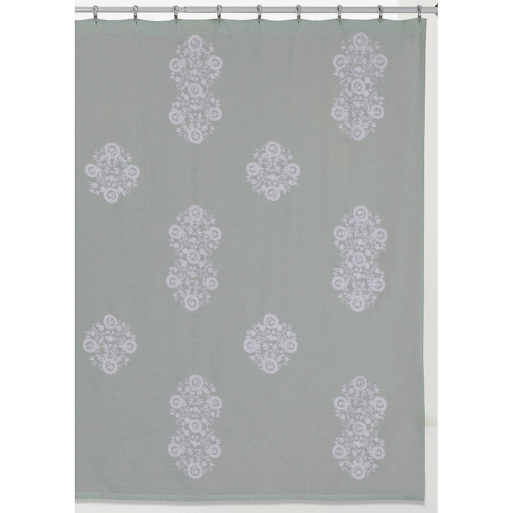 Image of Boho Shower Curtain - Light Blue & White - Creative Bath