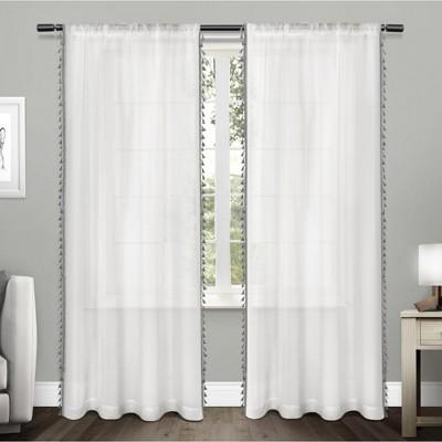 54 x63  Tassels Sheer Rod Pocket Window Curtain Panel Pair Black Pearl - Exclusive Home