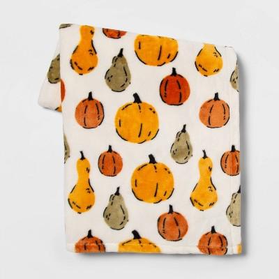 Pumpkin and Gourd Throw Blanket Cream