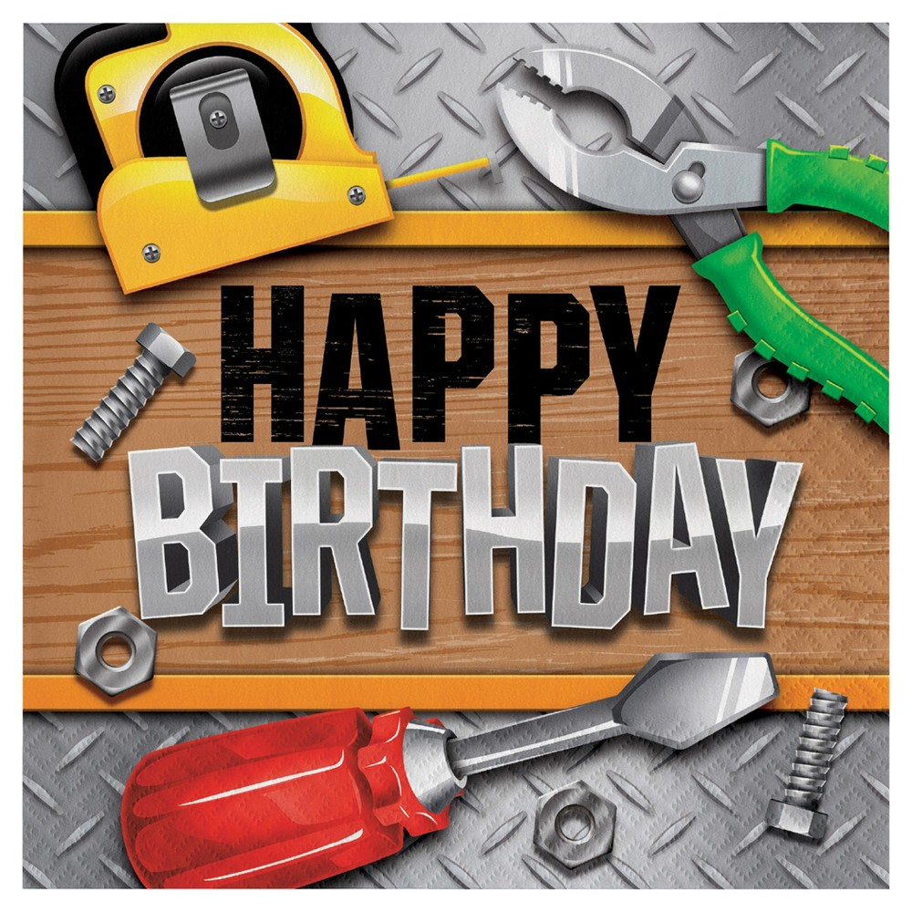 Image of 16ct Handyman Birthday Napkins