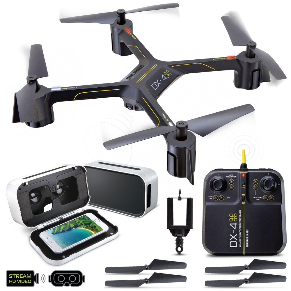 Sharper Image Fpv VR Quadcopter Drone DX 14.4 Model with Live Camera Streaming and VR Headset