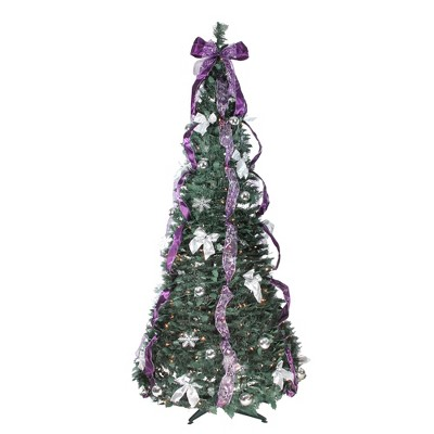 Northlight 6' Artificial Christmas Tree Prelit Purple and Silver Decorated Pop-Up - Clear Lights